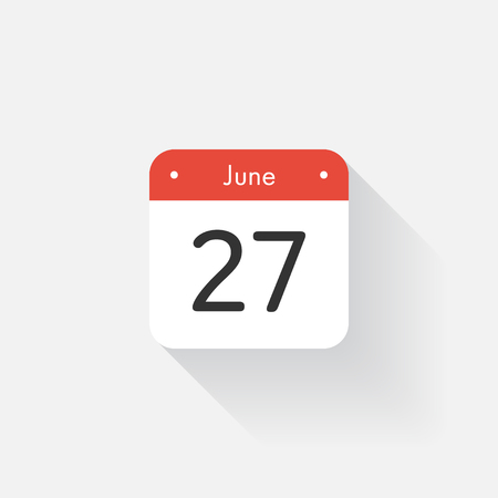 27: Calendar Icon with long shadow. Flat style. Date,day and month. Reminder. Vector illustration. Organizer application, app symbol. Ui. User interface sign. June. 27 Illustration