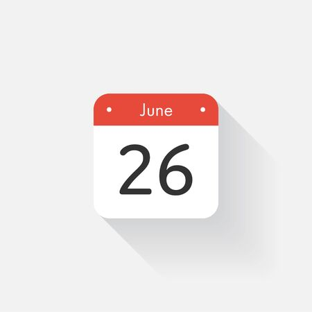 time bound: Calendar Icon with long shadow. Flat style. Date,day and month. Reminder. Vector illustration. Organizer application, app symbol. Ui. User interface sign. June. 26