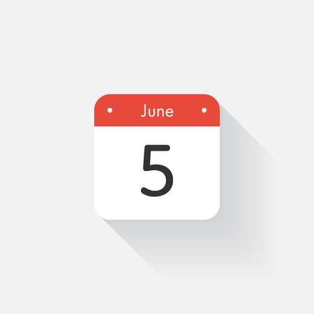 time bound: Calendar Icon with long shadow. Flat style. Date,day and month. Reminder. Vector illustration. Organizer application, app symbol. Ui. User interface sign. June. 5 Illustration