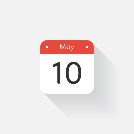 time bound: Calendar Icon with long shadow. Flat style. Date,day and month. Reminder. Vector illustration. Organizer application, app symbol. Ui. User interface sign. May. 10
