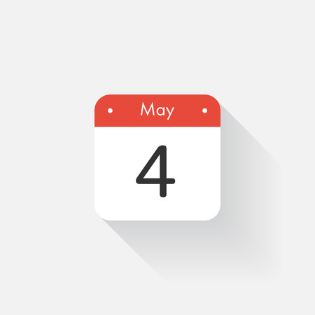 time bound: Calendar Icon with long shadow. Flat style. Date,day and month. Reminder. Vector illustration. Organizer application, app symbol. Ui. User interface sign. May. 4 Illustration
