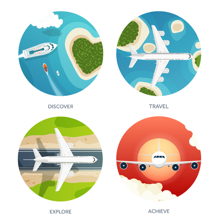 plane landing: Vector illustration. Travel and tourism. Airplane, aviation. Summer holidays, vacation. Plane landing. Flight, air travelling.  Sky, aerial, tropical background. Journey.  Island, sea, boats.