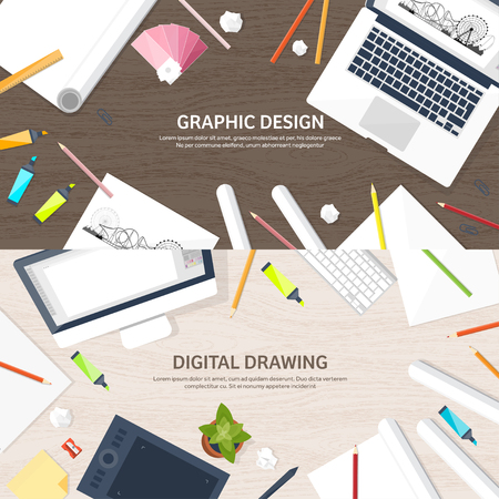 Graphic web design. Drawing and painting. Development. Illustration, sketching, freelance. User interface. UI. Computer, laptop. Wood texture. Stock Illustratie