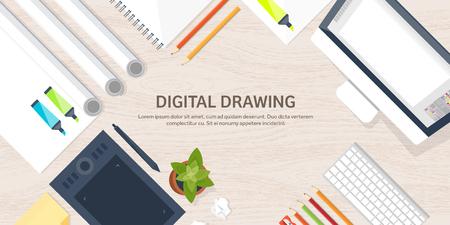 Conception web graphique. Dessiner et peindre. Développement. Illustration, croquis, freelance. Interface utilisateur. UI. Ordinateur, ordinateur portable. Texture du bois.