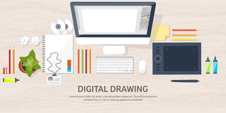 Graphic web design. Drawing and painting. Development. Illustration, sketching, freelance. User interface. UI. Computer, laptop. Wood texture. Vektoros illusztráció