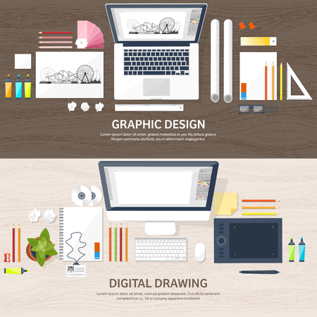 freelance: Graphic web design. Drawing and painting. Development. Illustration, sketching, freelance. User interface. UI. Computer, laptop. Wood texture. Illustration