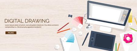 web design grafico. Disegnare e pitturare. Sviluppo. Illustrazione, schizzi, freelance. Interfaccia utente. UI. Computer, laptop. Struttura di legno.