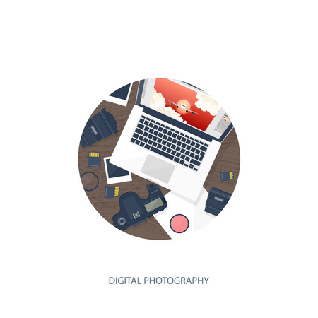 postproduction: Photographer equipment on a table. Photography tools, photo editing, photoshooting flat background.  Digital photocamera with lens. Vector illustration. Wood. Wooden. Illustration