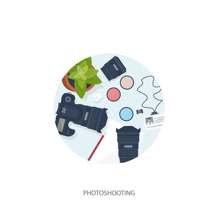photo tools: Photographer equipment on a table. Photography tools, photo editing, photoshooting flat background.  Digital photocamera with lens. Vector illustration.