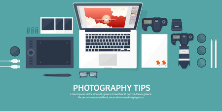 telephoto: Photographer equipment on a table. Photography tools, photo editing, photoshooting flat background.  Digital photocamera with lens. Vector illustration.