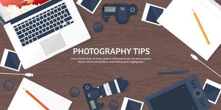 telephoto: Photographer equipment on a table. Photography tools, photo editing, photoshooting flat background.  Digital photocamera with lens. Vector illustration. Wood. Wooden. Illustration