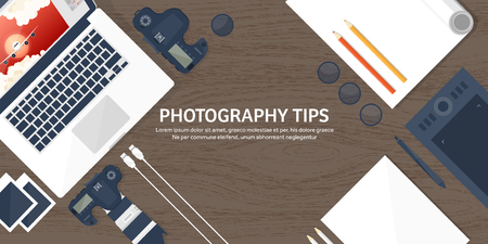 image editing: Photographer equipment on a table. Photography tools, photo editing, photoshooting flat background.  Digital photocamera with lens. Vector illustration. Wood. Wooden. Illustration