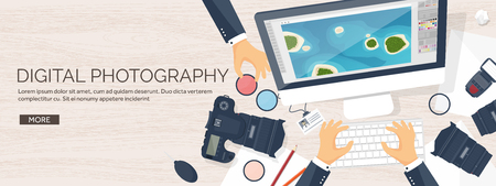 photo tools: Photographer equipment on a table. Photography tools, photo editing, photoshooting flat background.  Digital photocamera with lens. Vector illustration. Wood. Wooden. Illustration