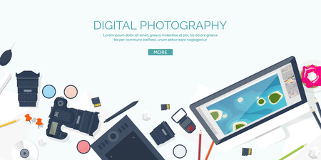 retouch: Photographer equipment on a table. Photography tools, photo editing, photoshooting flat background.  Digital photocamera with lens. Vector illustration.