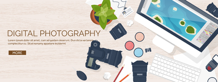 shoot: Photographer equipment on a table. Photography tools, photo editing, photoshooting flat background.  Digital photocamera with lens. Vector illustration. Wood. Wooden. Illustration