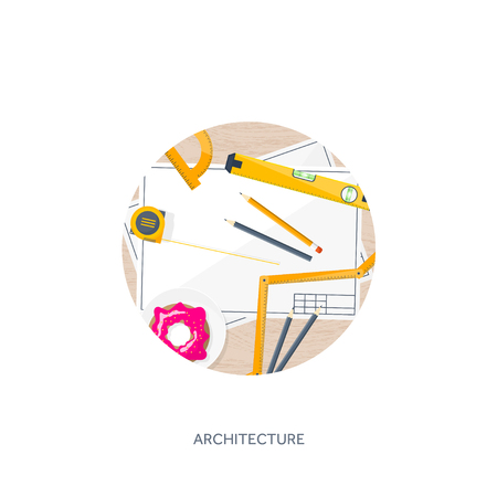 architecture drawing: Vector illustration. Engineering and architecture. Drawing, construction.  Architectural project. Design, sketching. Workspace with tools. Planning, building.  Wood, wooden.