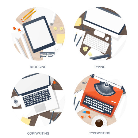 typewriting machine: Vector illustration.  Flat typewriter.Laptop with hands. Tell your story. Author. Blogging.