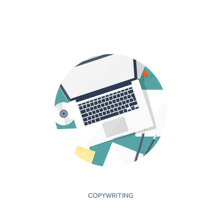 author: Vector illustration.  Flat laptop. Tell your story. Author. Blogging. Message.