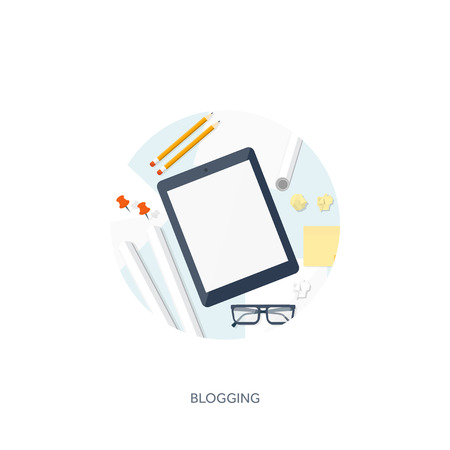 author: Vector illustration.  Flat tablet. Tell your story. Author. Blogging. Message. Illustration