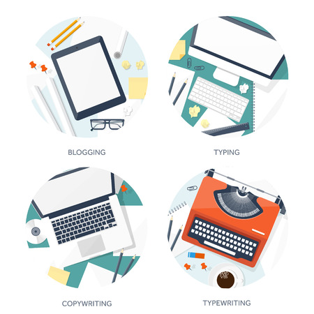 author: Vector illustration.  Flat typewriter.Laptop with hands. Tell your story. Author. Blogging.