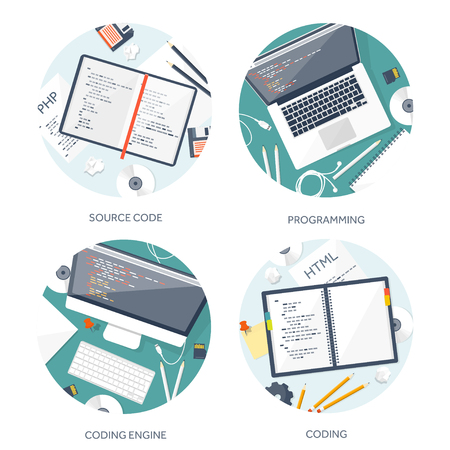 mobile app: Programming,coding. Flat computing background. Code, hardware,software. Web development. Search engine optimization. Innovation,technologies. Mobile app. Vector illustration. SEO.