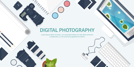 postproduction: Photographer equipment on a table. Photography tools, photo editing, photoshooting flat background.  Digital photocamera with lens. Vector illustration.