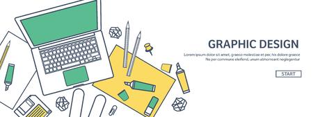 Gefüttert, ouline flache Grafik Web-Design. Zeichnen und Malen. Entwicklung. Illustration, Skizzieren, freier. Benutzer interface. UI. Computer, Laptop. Vektorgrafik