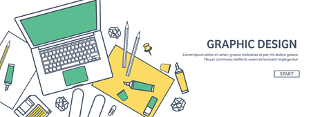 Gevoerd, ouline flat grafisch webdesign. Tekenen en schilderen. Ontwikkeling. Illustratie, schetsen, freelance. Gebruikersomgeving. UI. Computer, laptop.