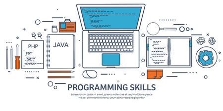 Lined programming,coding. Outline Flat computing background. Code, hardware,software. Web development. Search engine optimization. Innovation,technologies. Mobile app. Vector illustration. SEO.