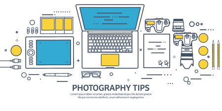 retouch: Lined fhotographer equipment on a table. Photography tools, photo editing, photoshooting outline flat background.  Digital photocamera with lens. Vector illustration.