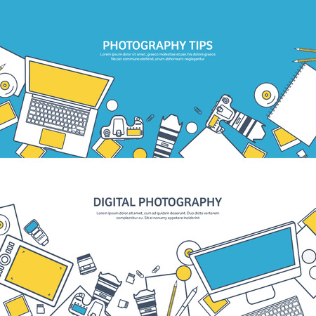 telephoto: Lined fhotographer equipment on a table. Photography tools, photo editing, photoshooting outline flat background.  Digital photocamera with lens. Vector illustration.