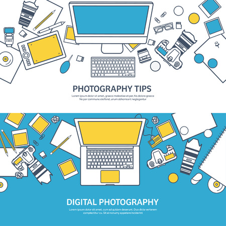 photo tools: Lined fhotographer equipment on a table. Photography tools, photo editing, photoshooting outline flat background.  Digital photocamera with lens. Vector illustration.