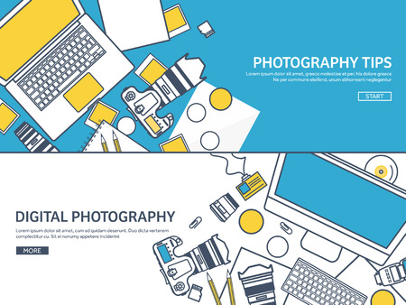 image editing: Lined fhotographer equipment on a table. Photography tools, photo editing, photoshooting outline flat background.  Digital photocamera with lens. Vector illustration.