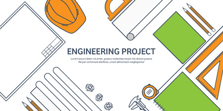 engineering design: Lined, outline.Vector illustration. Engineering and architecture. Drawing, construction. Architectural project. Design, sketching. Workspace with tools. Planning, building. Illustration
