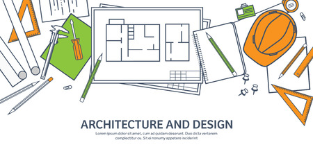 architecture design: Lined, outline.Vector illustration. Engineering and architecture. Drawing, construction. Architectural project. Design, sketching. Workspace with tools. Planning, building. Illustration