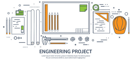 construction plan: Lined, outline.Vector illustration. Engineering and architecture. Drawing, construction. Architectural project. Design, sketching. Workspace with tools. Planning, building. Illustration