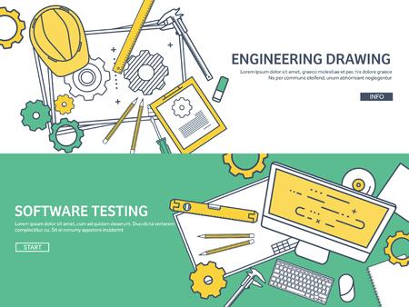 Foderato, contorno. Illustrazione vettoriale. Ingegneria e architettura. Software per il computer. Disegno, la costruzione. Progetto architettonico. Design, schizzi. Area di lavoro con gli strumenti. Progettazione, costruzione.