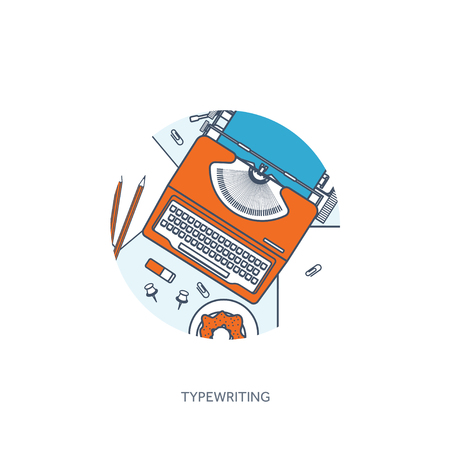 author: Vector illustration. Flat typewriter. Tell your story. Author. Blogging.Lined, outline.