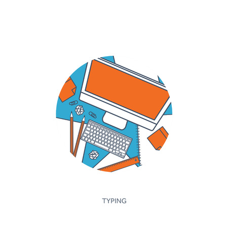 author: Vector illustration. Flat laptop. Tell your story. Author. Blogging. Message.Lined, outline.