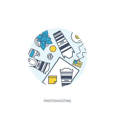retouch: Photographer equipment on a table. Photography tools, photo editing, photoshooting flat background. Digital photocamera with lens. Vector illustration. Wood. Wooden. Lined, outline.