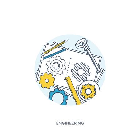 Alineado, la ilustración del vector del esquema. Ingeniería y arquitectura. Dibujo, construcción. proyecto arquitectónico. Diseño, dibujo. Espacio de trabajo con herramientas. Planificación, construcción. Foto de archivo - 57529049