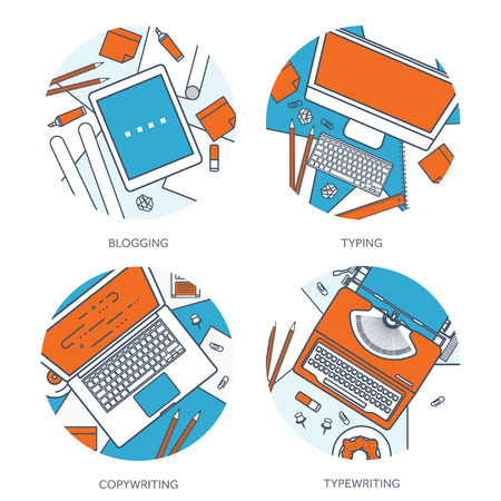 author: Vector illustration. Flat typewriter.Laptop with hands. Tell your story. Author. Blogging. Illustration