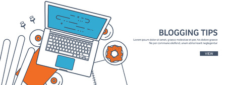 author: Vector illustration. Flat laptop. Tell your story. Author. Blogging. Message. Lined, outline. Illustration