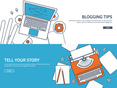 author: Lined, outline vector illustration. Flat typewriter.Laptop with hands. Tell your story. Author. Blogging. Illustration