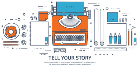 author: Vector illustration. Flat typewriter. Tell your story. Author. Blogging. Lined, outline. Illustration