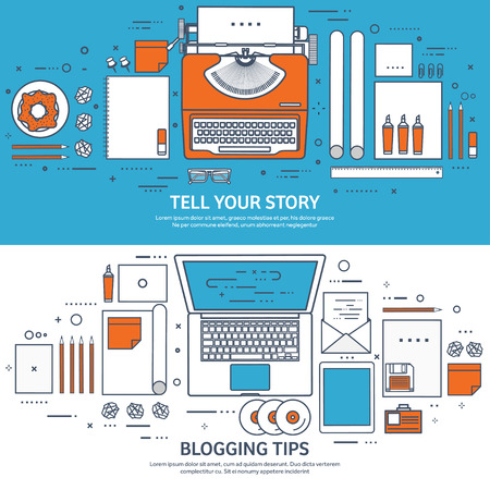 typewriting machine: Lined, outline vector illustration. Flat typewriter.Laptop with hands. Tell your story. Author. Blogging. Illustration
