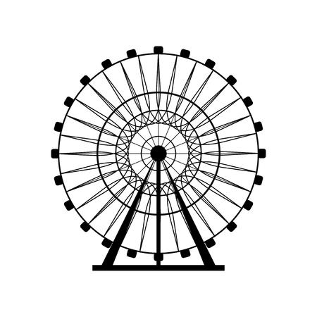 Ferris wheel silhouette, cerchio. Carnevale. Funfair background.Carousel, movimento. Illustrazione vettoriale. Vettoriali