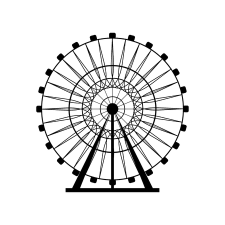 Ferris wheel silhouette, circle. Carnival. Funfair background.Carousel, motion. Vector illustration. Illustration