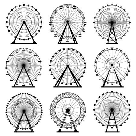 Ferris wheel silhouette, circle. Carnival. Funfair background.Carousel, motion. Vector illustration. Vectores