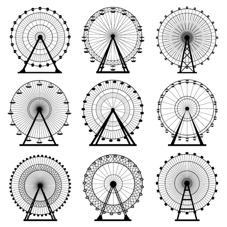 Ferris wheel silhouette, circle. Carnival. Funfair background.Carousel, motion. Vector illustration. Vettoriali
